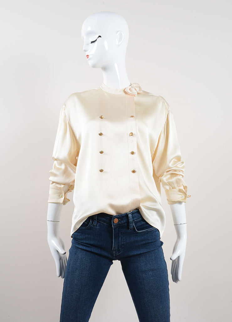 Chanel Cream Silk Satin Button Up Double Breasted Blouse Frontview