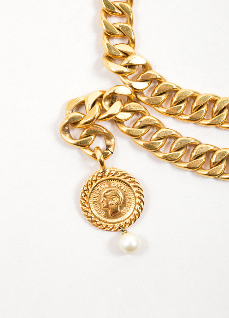 Chanel Gold Toned Draped Curb Chain Faux Pearl Choker Necklace Detail 2