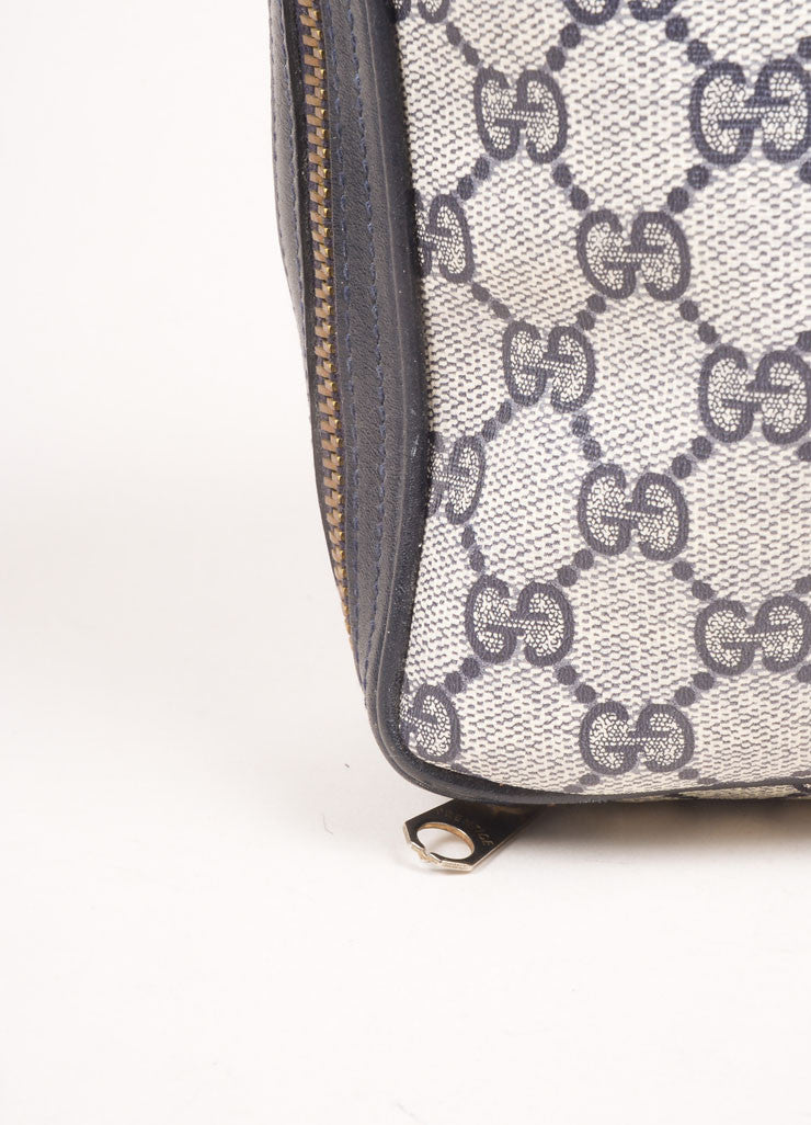 "Gucci Cream, Navy, and Red Coated Canvas Monogram ""GG"" Cosmetic Bag Detail 2"