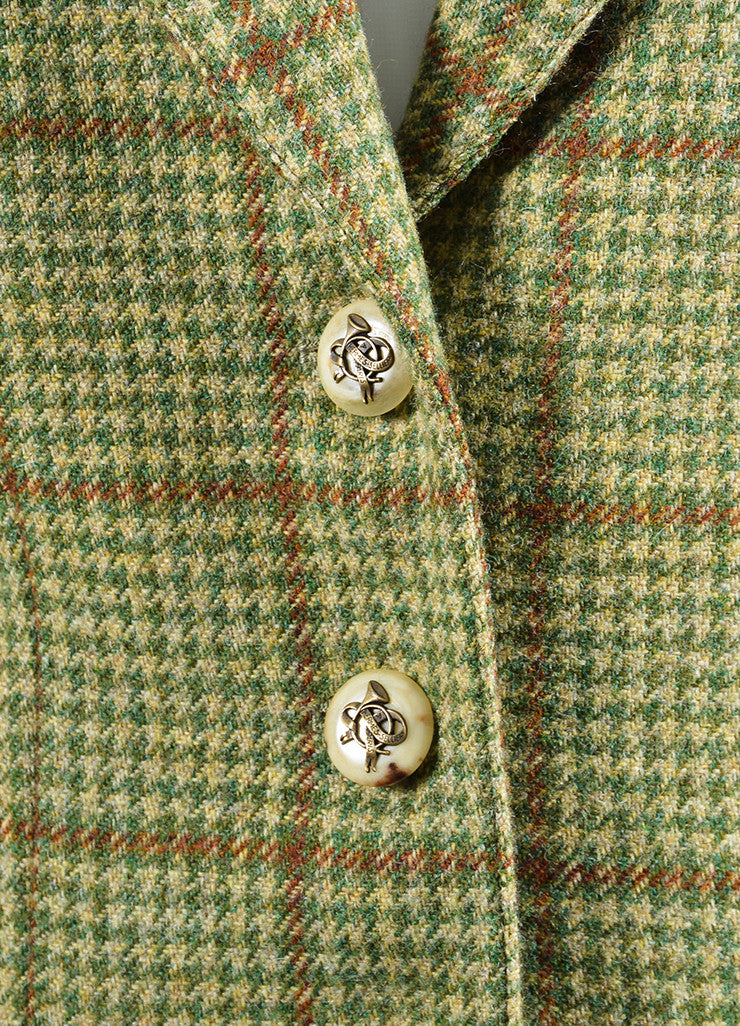 Green and Brown Houndstooth Hermes Suede Elbow Jacket Detail