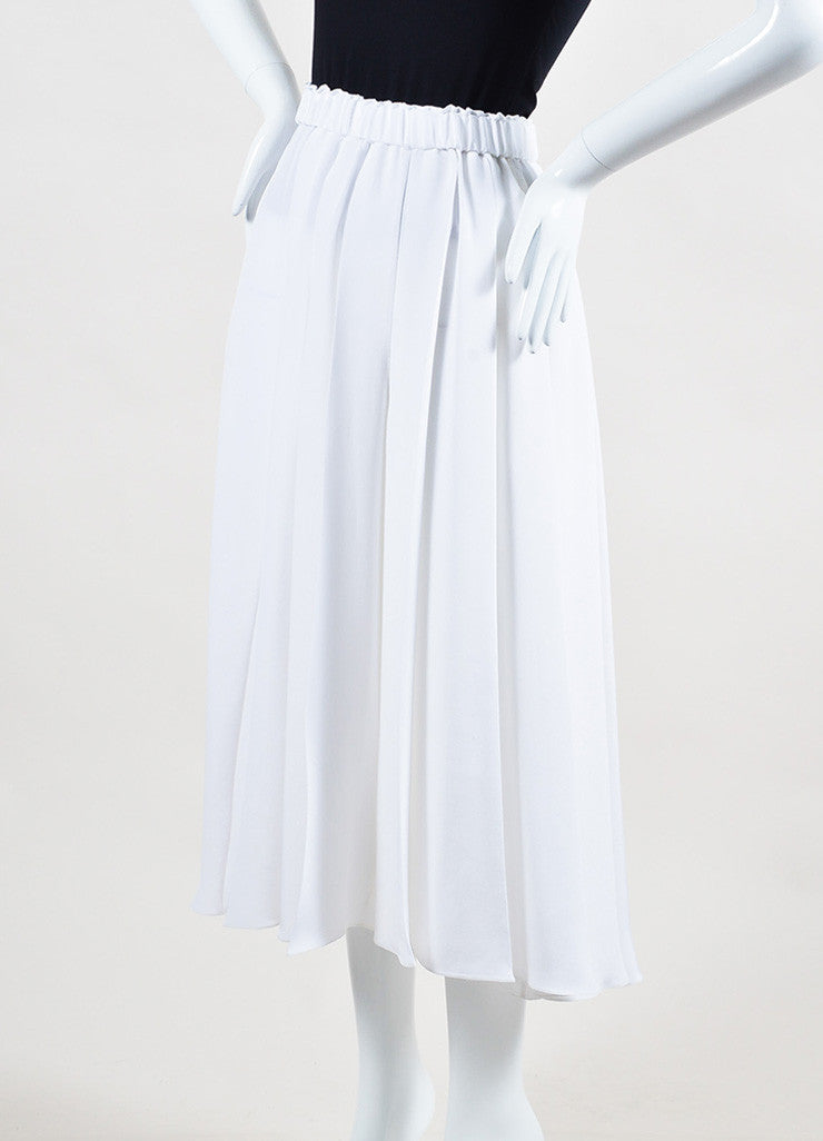 White Victoria Beckham Silk Crepe Pleated Culottes Front
