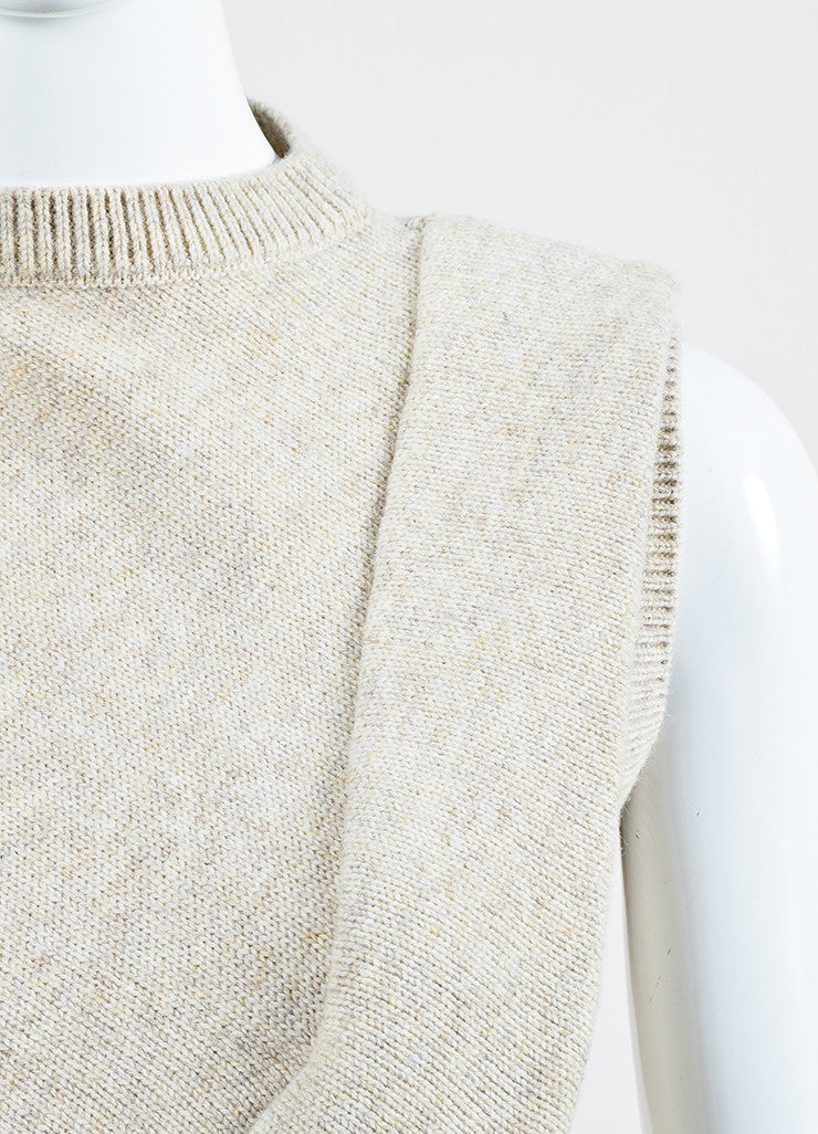 "Beige ""Cream Melange"" Victoria Beckham Wool Sleeveless Sweater Detail"