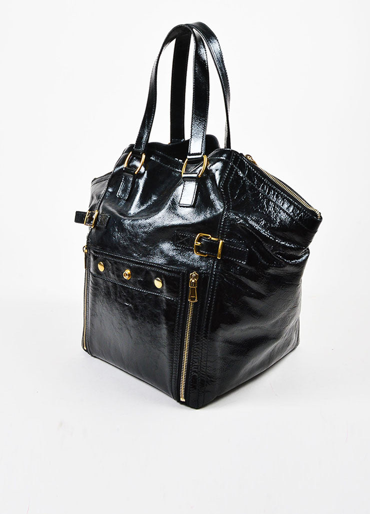 "Yves Saint Laurent Black Leather Stud and Zip Detail ""Medium Downtown"" Tote Sideview"