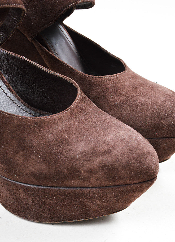 Brown Suede Yves Saint Laurent Ankle Wrap Pumps Detail