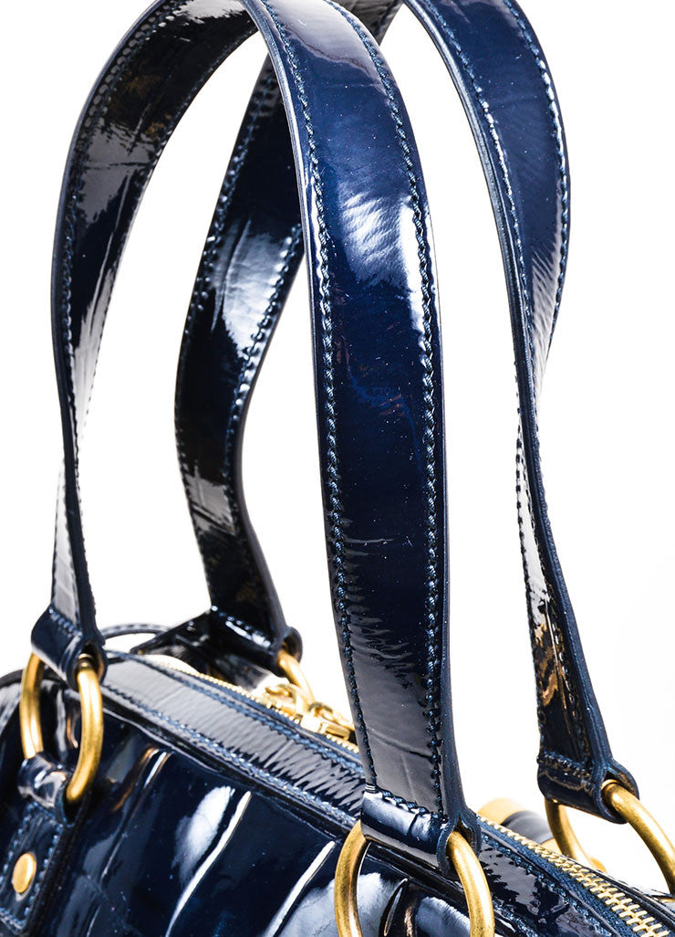 Navy Blue Yves Saint Laurent Crocodile Embossed Patent Leather Large Muse Bag Detail 2