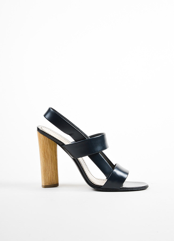 Yves Saint Laurent Rive Gauche Black and Beige Leather and Wood Chunky Sandals Sideview