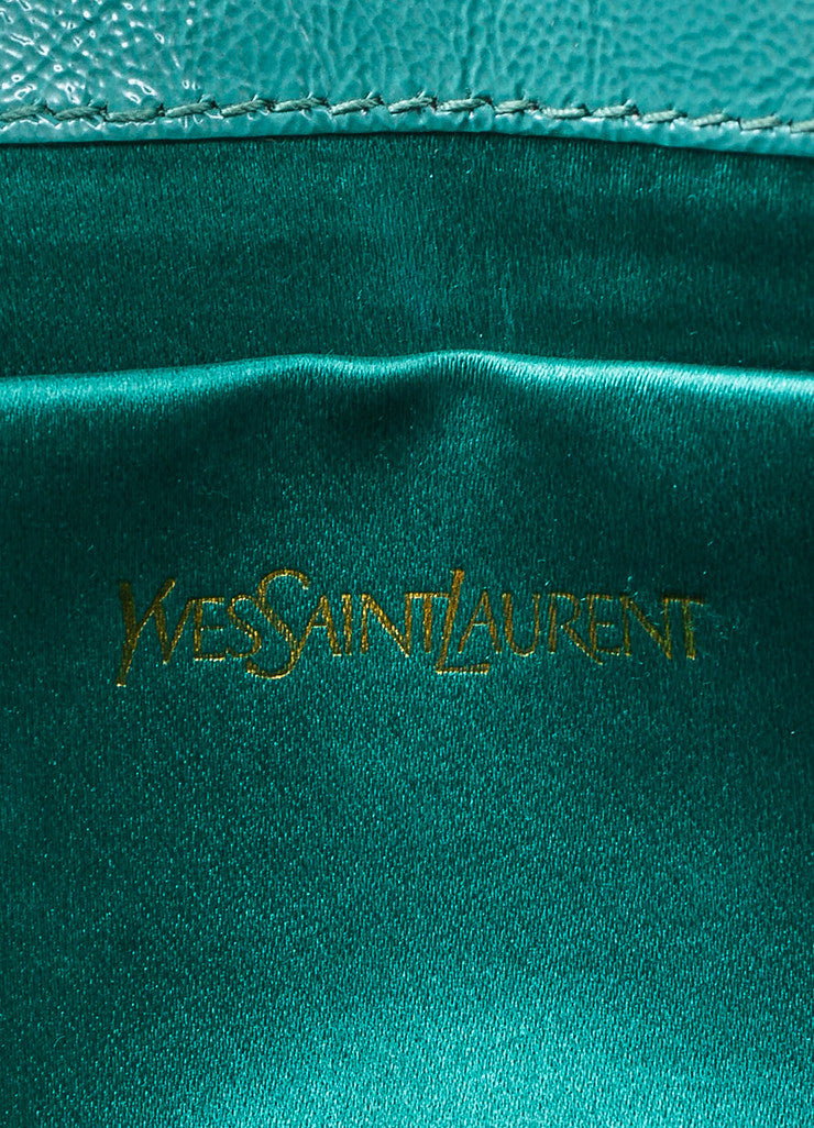 "Yves Saint Laurent Robin's Egg Blue Patent Leather 'YSL' ""Belle Du Jour"" Clutch Bag Brand"
