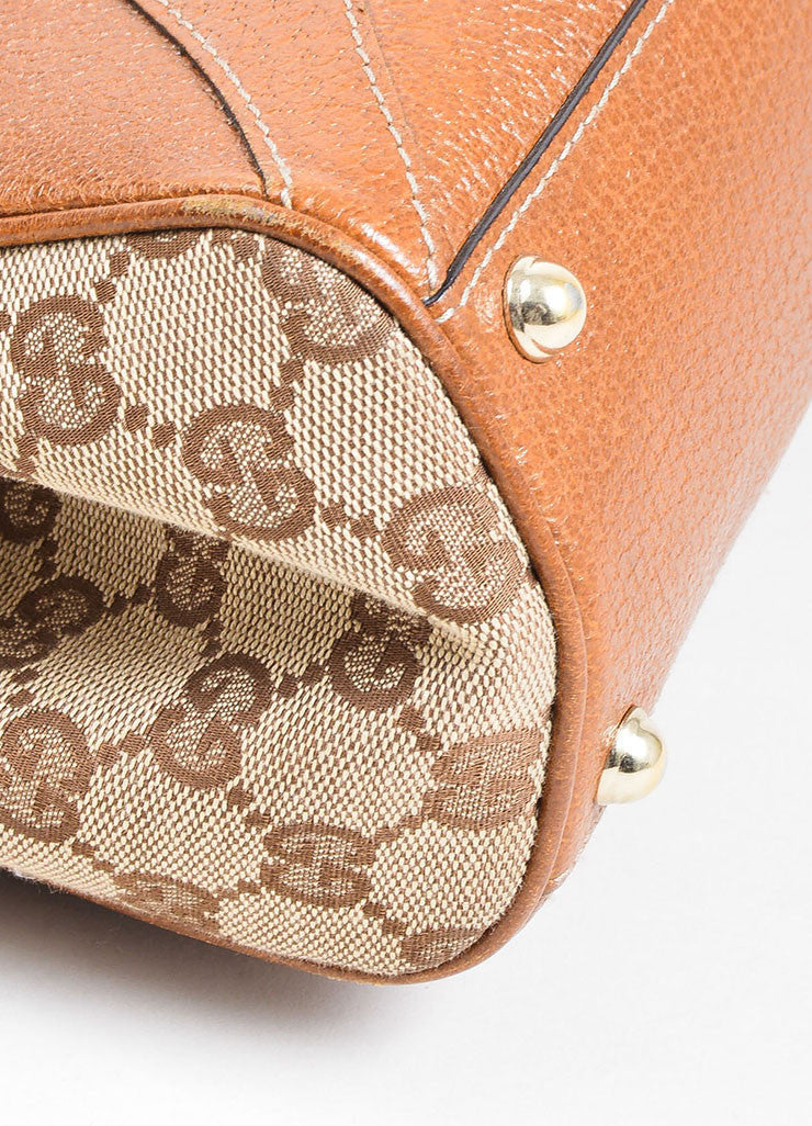 "Tan Gucci Monogram Canvas ""Nailhead Bardot"" Bag Detail"