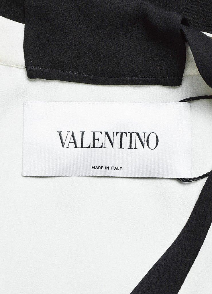 Valentino Black and White Silk Crepe Plunging Neck Color Block Gown Brand