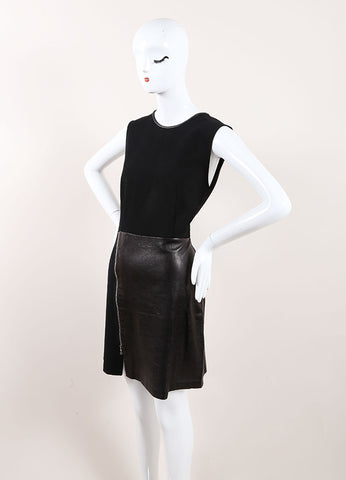 "3.1 Phillip Lim Black Leather ""Tromp L'oeil Layered Biker"" Dress Sideview"