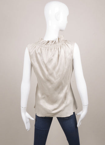 Albino Taupe Ruffle Neck Sleeveless Top Backview