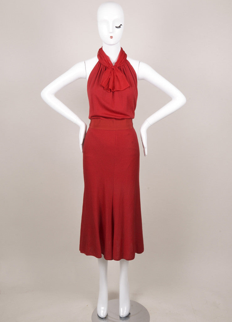 Giambattista Valli Red Wool Knit Silk Chiffon Dress Frontview