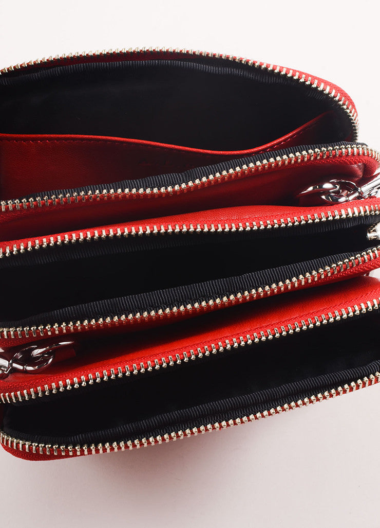 A.L.C. Red Leather Three Zip Pouch Cross Body Bag Interior