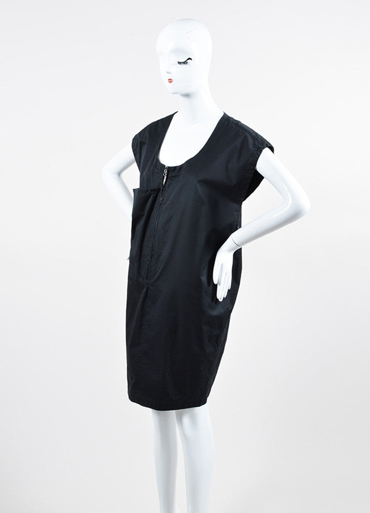 Acne Jeans Black Cotton Large Pocket Zip Front Sleeveless Shift Dress Sideview