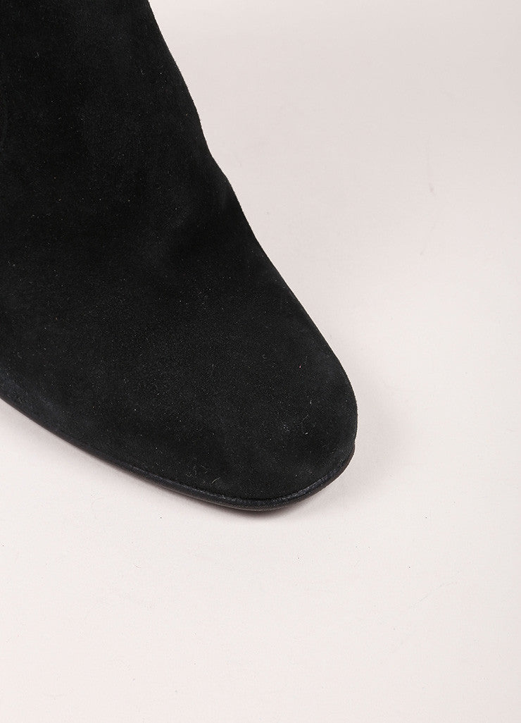 Alaia Black Suede Elastic Square Toe Ankle Boots Detail