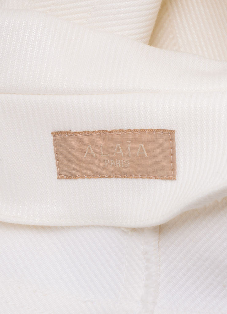 Alaia White Cotton Ribbed Wide Cropped Jacket Brand