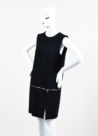 Alexander McQueen Black Zip Bottom Sleeveless Shift Dress Sideview