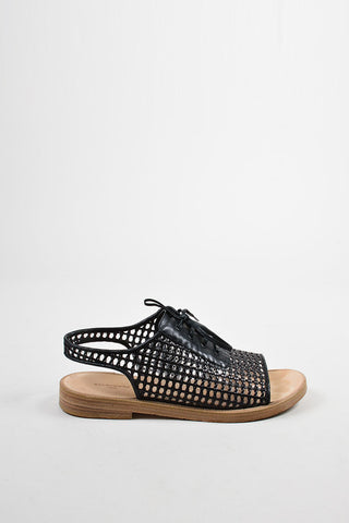 Black Balenciaga Woven Leather Lace Up Flat Sandals Sideview
