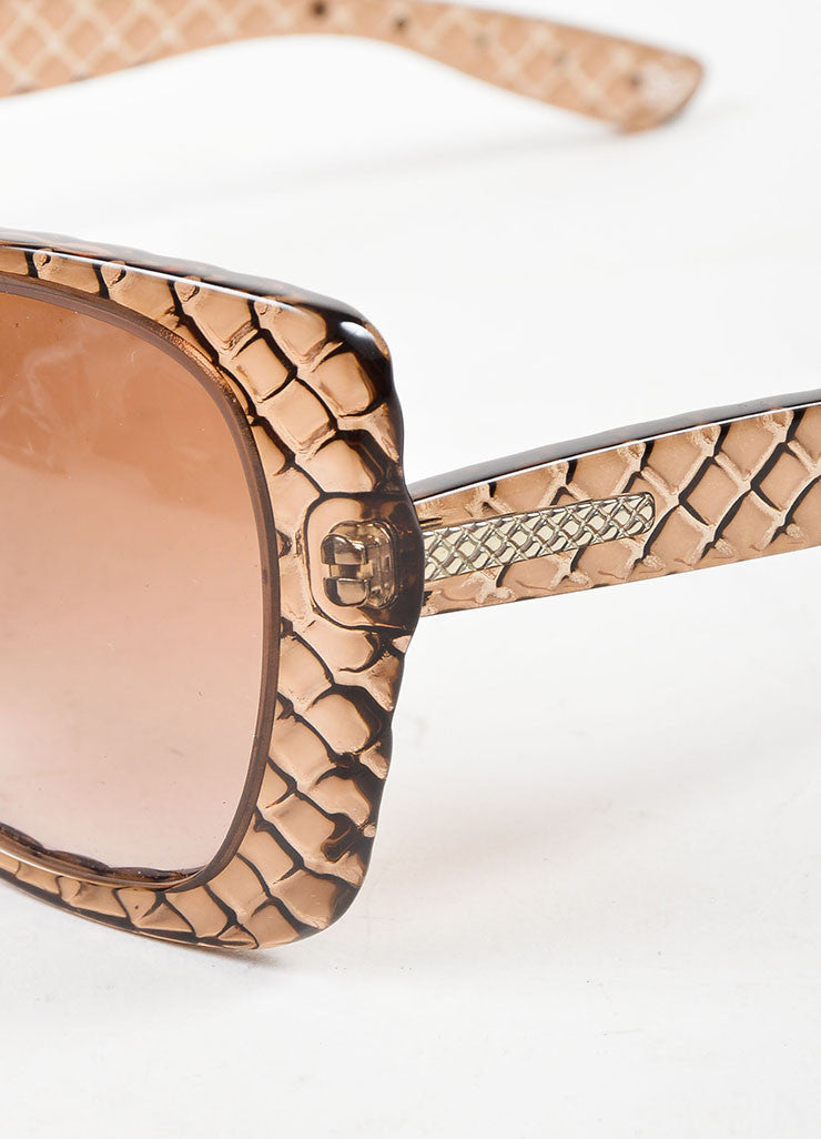 "Bottega Veneta Taupe Transparent Quilted ""Butterfly"" Sunglasses Detail"