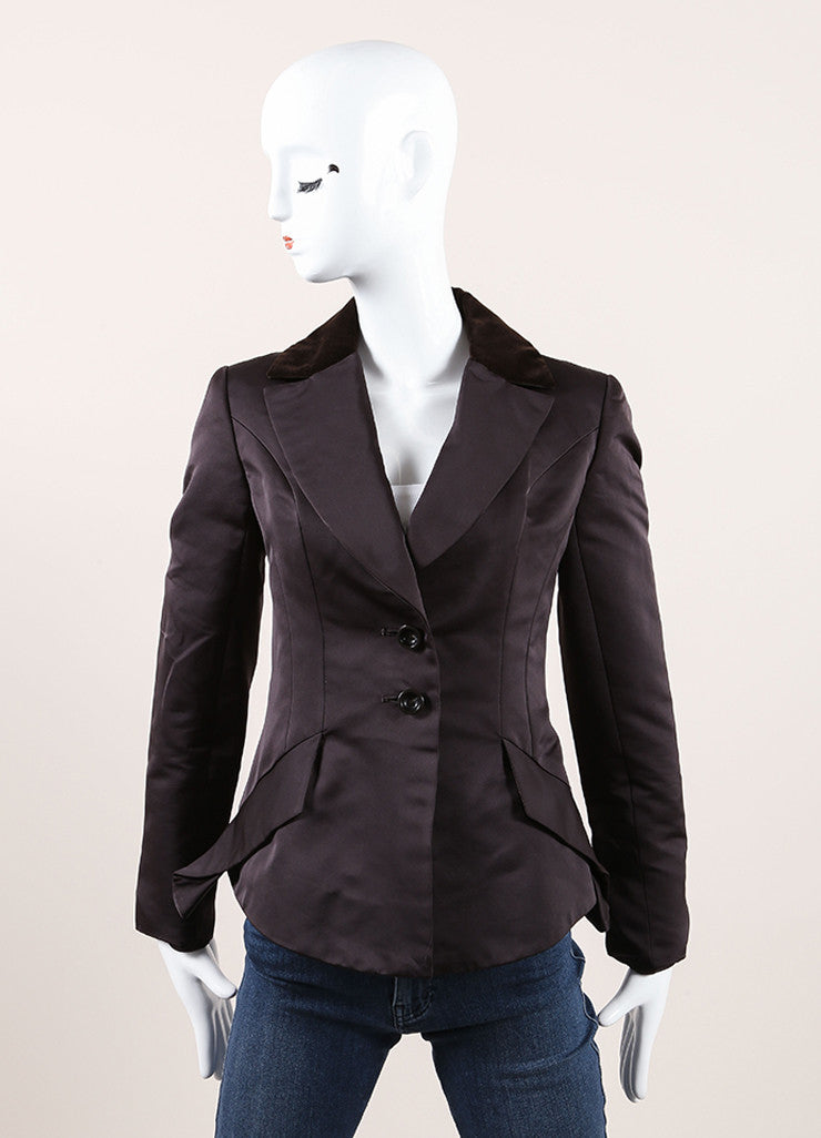 Carolina Herrera Black and Brown Velvet Collar Peplum Blazer  Frontview