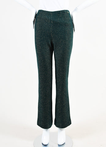Chanel Hunter Green and Gold Wool Dotted High Waisted Trouser Pants Frontview