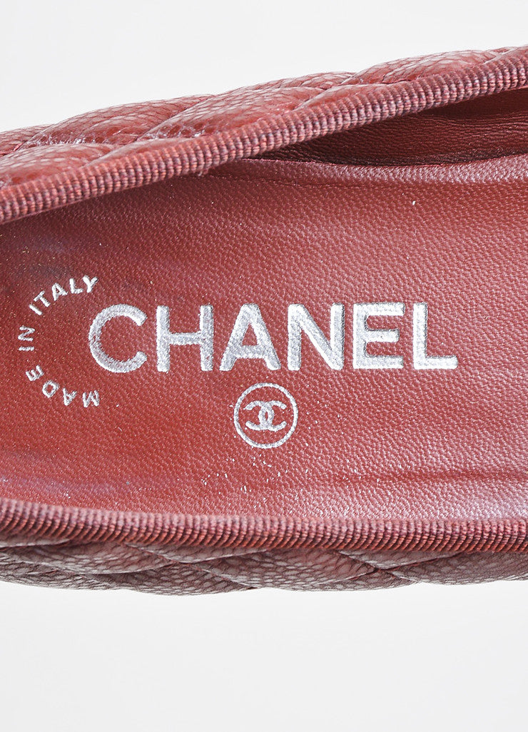 Dark Red and Black Chanel Caviar Leather 'CC' Cap Toe Ballet Flats Brand