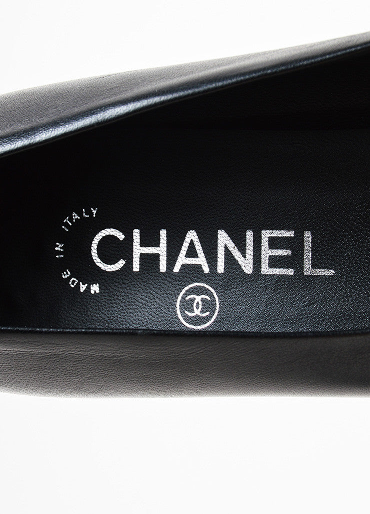 Black Leather Chanel 'CC' Embellished Block Heel Cap Toe Pumps Brand