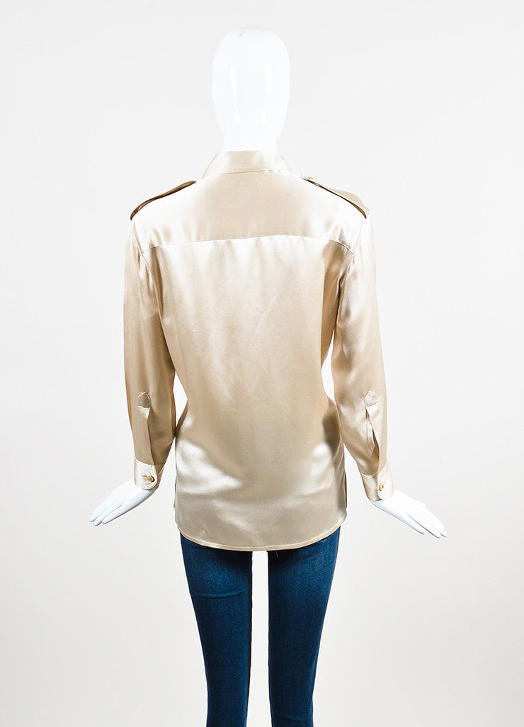 Chanel Beige Silk Satin Gold Toned 'CC' Button Chest Pocket Long Sleeve Blouse Top Backview
