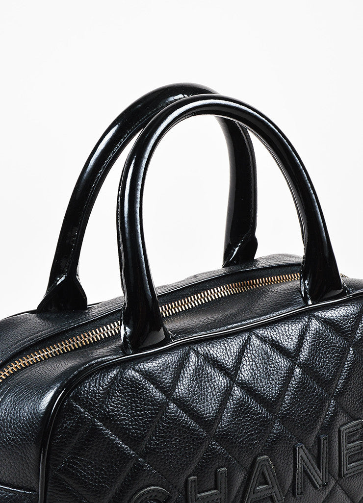 Chanel Black Leather Glossy Logo Detail and Top Handle Quilted Bowler Bag Detail 2