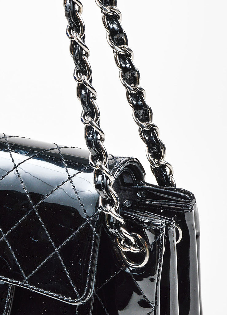 Black Chanel Patent Leather Quilted Accordian Chain Strap Bag Detail 2