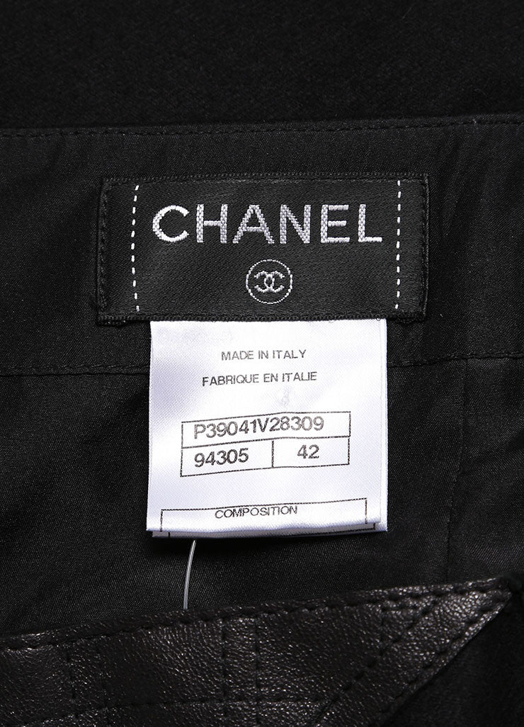 Chanel Black Stretch Wool and Cashmere Quilted Leather Trim Pencil Skirt Brand