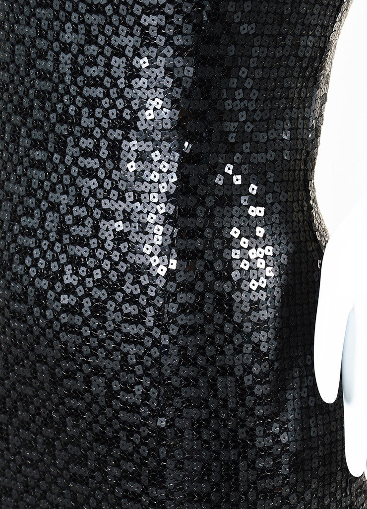 Chanel Black Wool Blend Long Sequin Embellished Split Evening Dress Detail