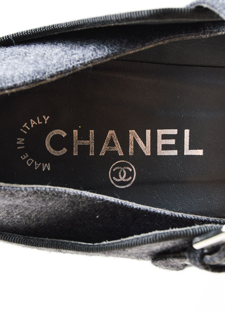 Charcoal Grey Chanel Woolen Leather Trim Mary Jane Pump Brand