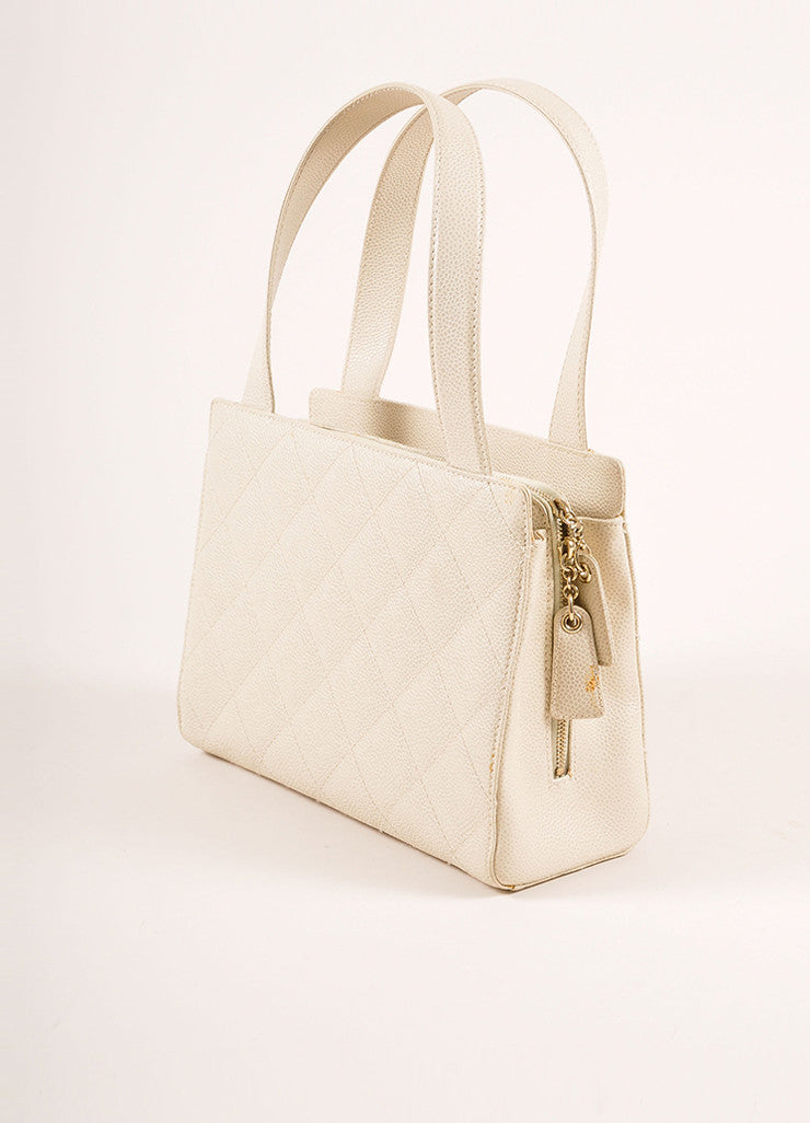 "Chanel Cream Quilted Caviar Leather ""CC"" Logo Small Square Tote Bag Sideview"