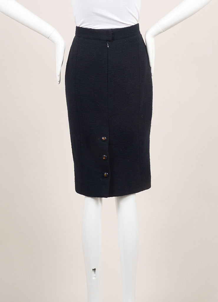 Chanel Navy Blue Wool Knit Pencil Skirt Backview