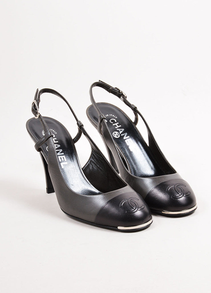 "Chanel Pewter and Black Leather Round Cap Toe ""CC"" Slingback Pumps Frontview"