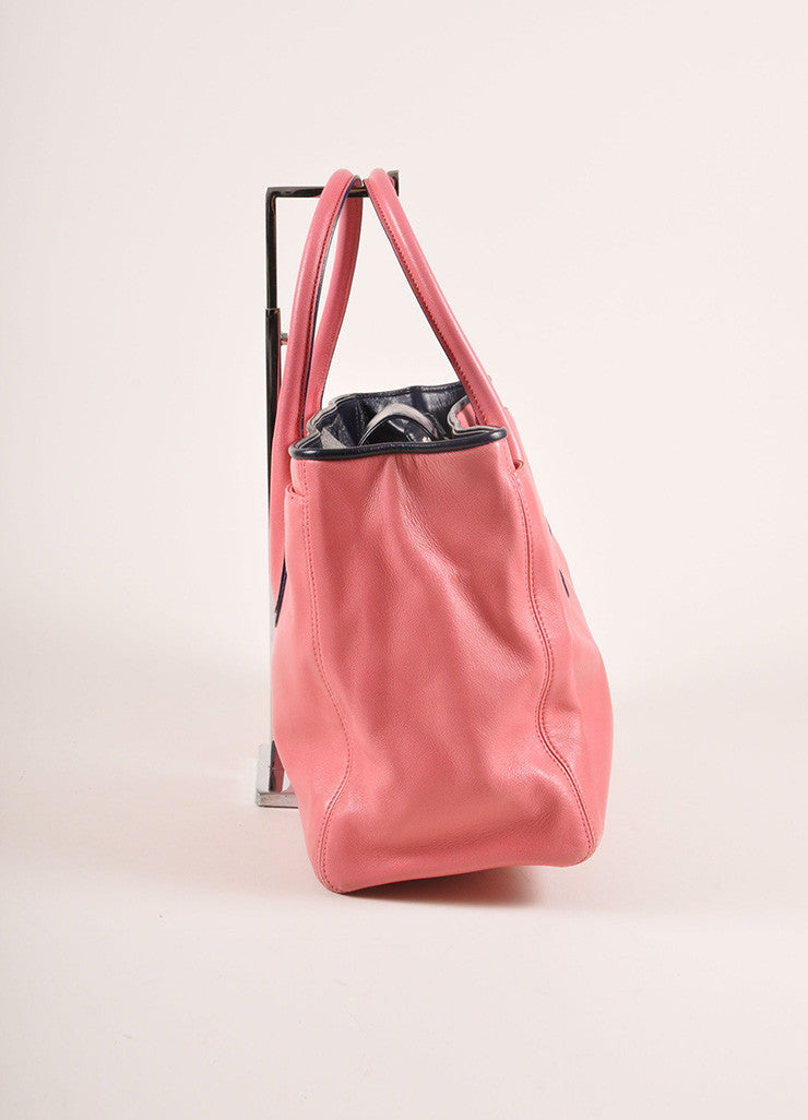 "Chanel Pink and Navy Leather ""CC"" Logo Tote Bag Sideview"