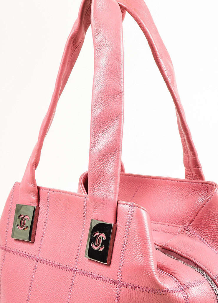 Chanel Pink Quilted Caviar Leather 'CC' Tote Bag Detail 2