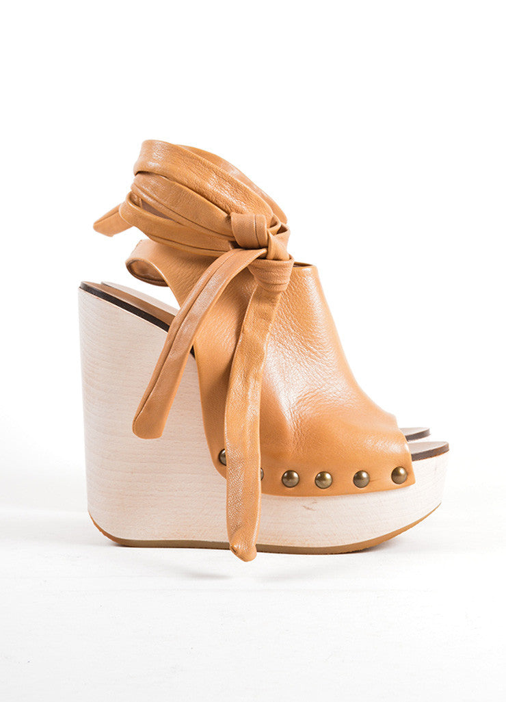 Chloe Brown Leather Studded Platform Wrap Wedges Sideview