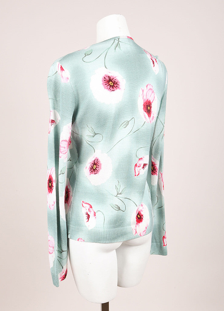 Green and Pink Wool, Silk, and Cashmere Floral Print Cardigan