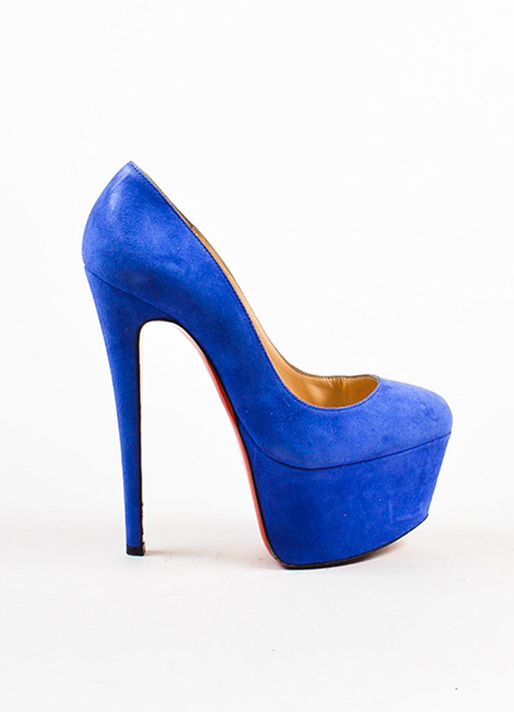 "Christian Louboutin Blue Suede ""Alta Vicky"" Platform Pumps Sideview"