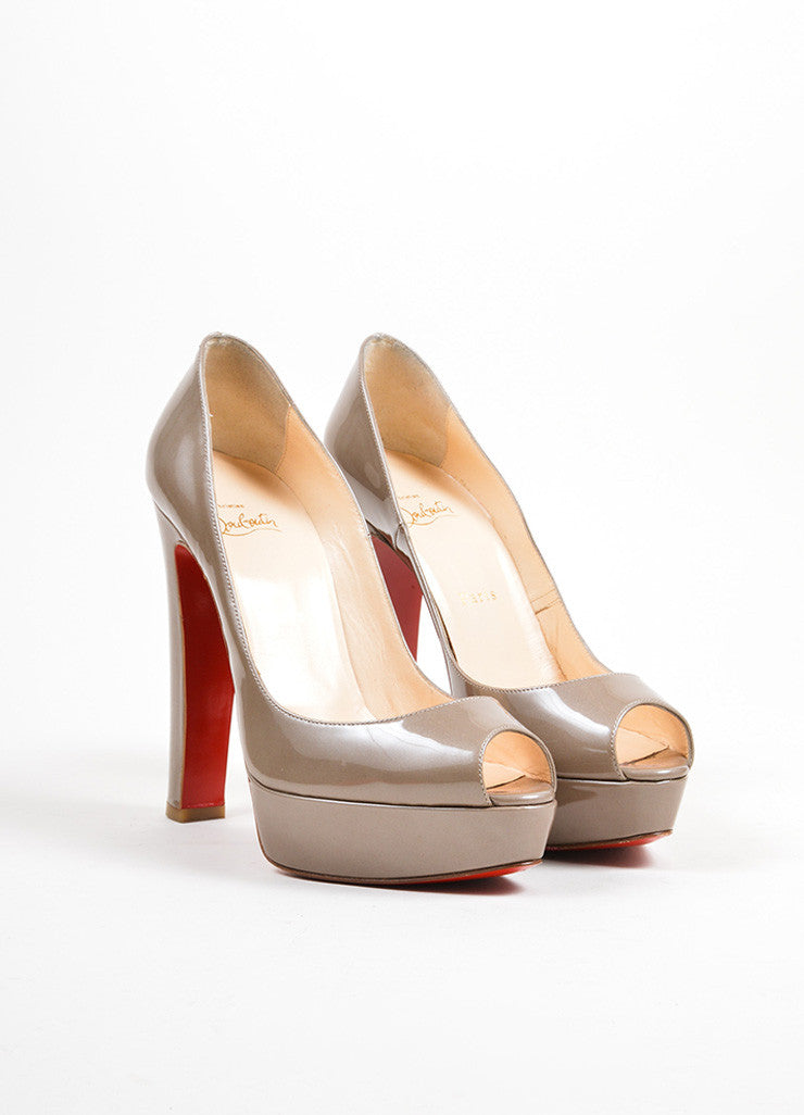 "Taupe Christian Louboutin Patent Leather Peep Toe ""Bambou"" Pumps Frontview"