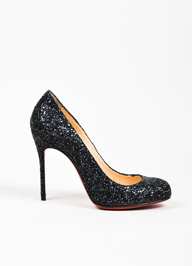 "Black Christian Louboutin Glitter Embellished ""Ron Ron"" Heel Pumps Sideview"
