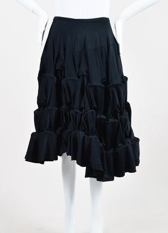 Comme des Garcons Black Jersey Tiered Ruched Multi Hoop A-Line Skirt Frontview