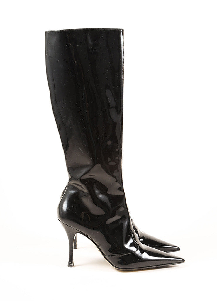 Dolce & Gabbana Black Patent Leather Pointed Toe Stiletto Knee High Boots Sideview