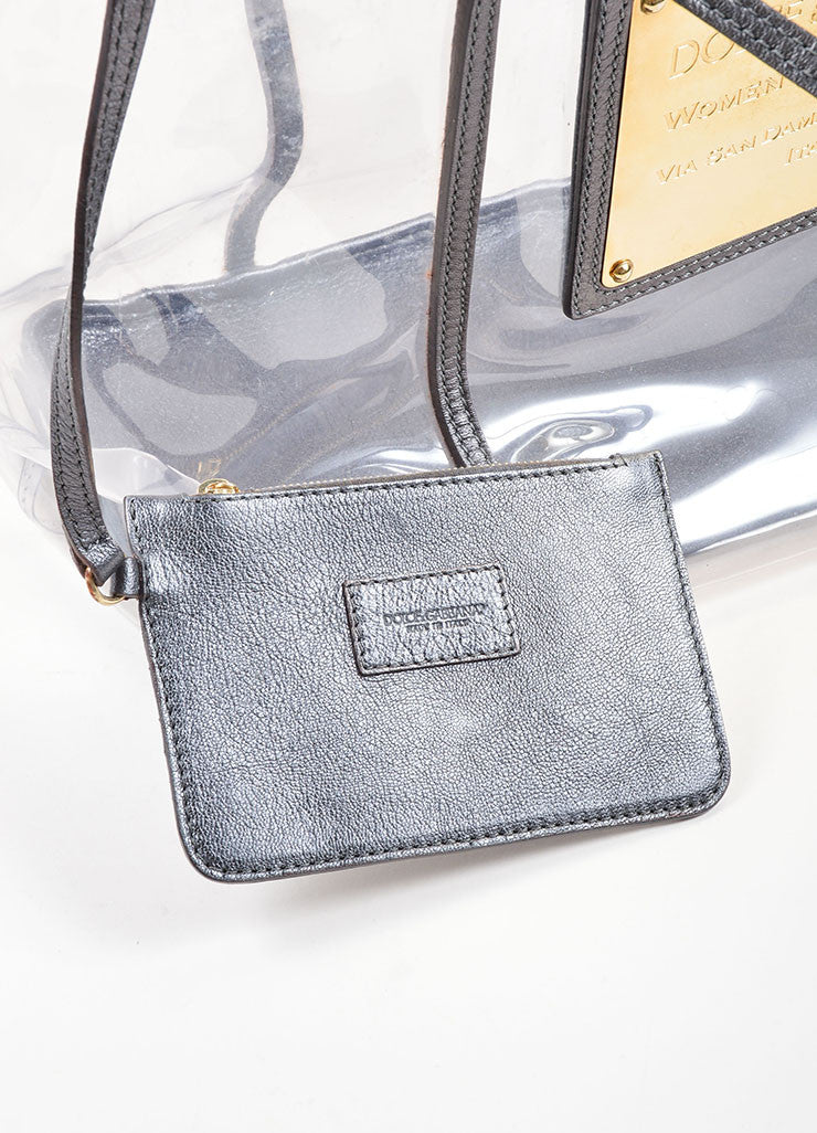 Dolce & Gabbana Clear and Grey Metallic Leather Trim Gold Toned Plate Tote Bag Accessory