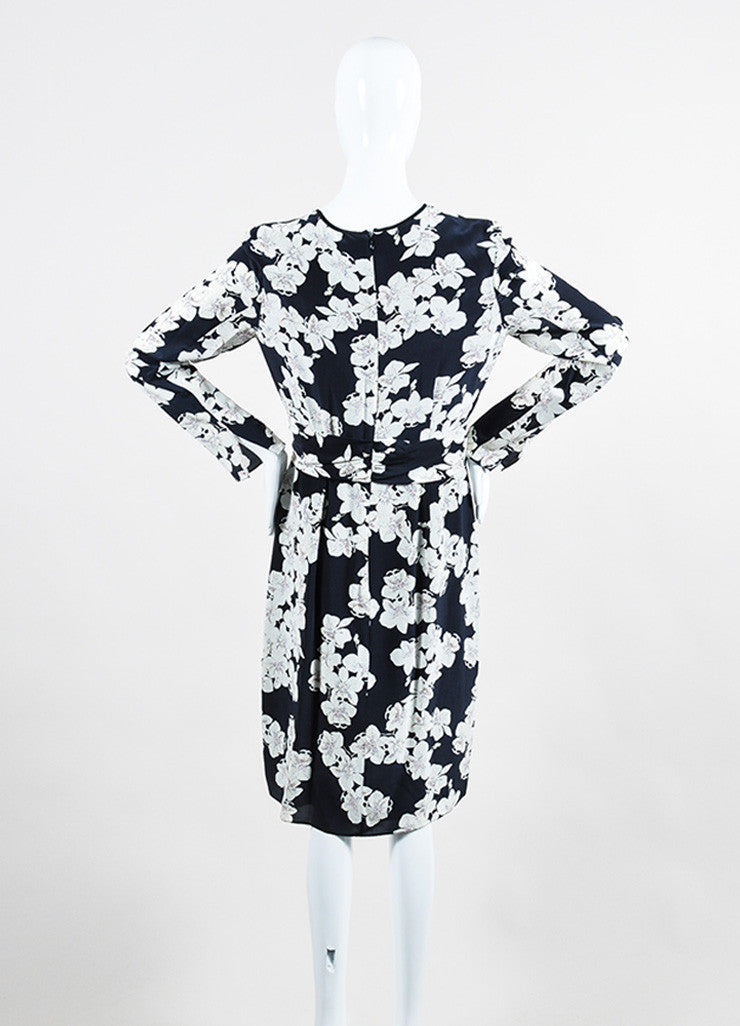 "Navy and White Erdem Silk Crepe Orchid Print ""Eden"" Long Sleeve Dress Backview"
