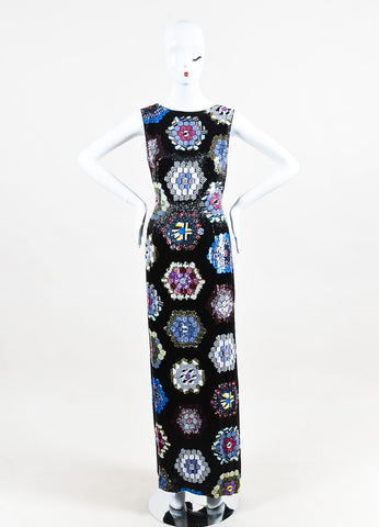 Escada Black Multicolor Silk Sequin Beaded Sleeveless Evening Gown Frontview