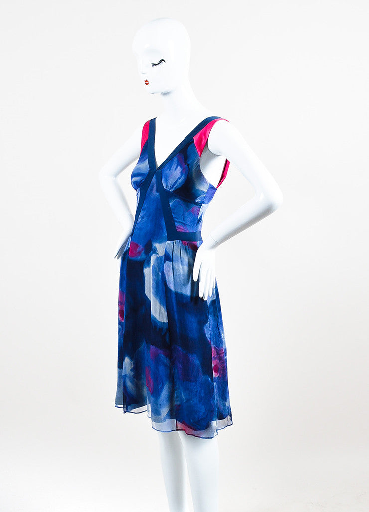 Blue and Pink Etro Silk Crinkled Chiffon Watercolor V-Neck Sleeveless Dress Sideview