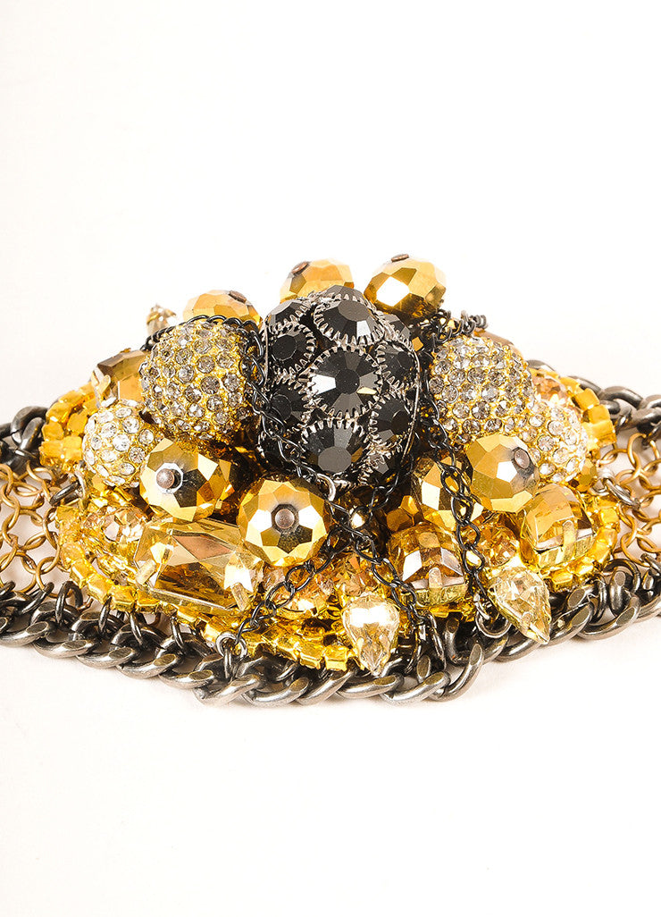 Falconiere New Black and Gold Toned Rhinestone Mesh Flower Bomb Bracelet Detail
